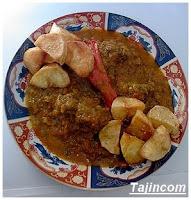 طجين اللحم مشرمل بالبطاطس Lhem+mchermel+