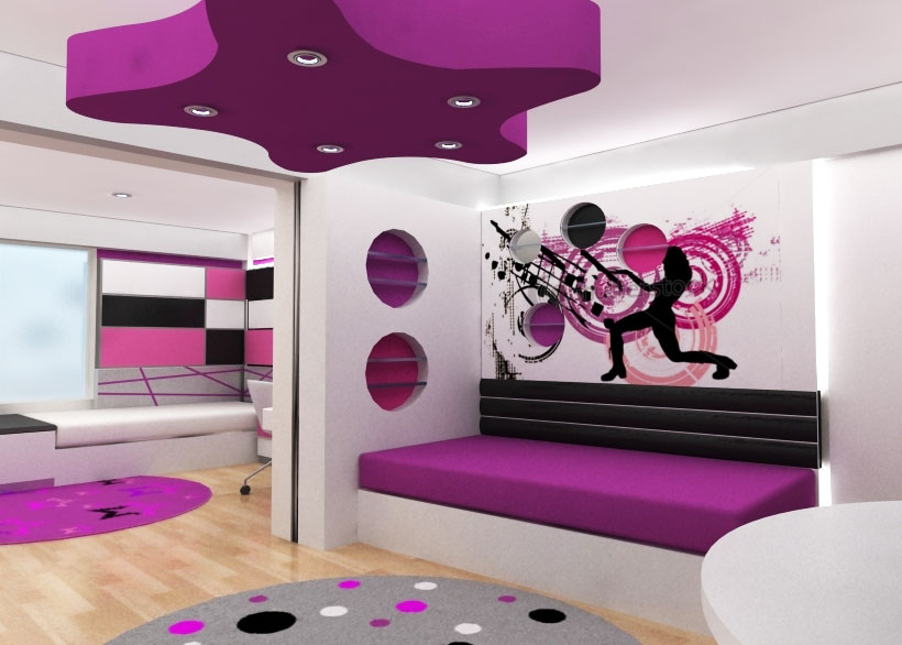 Decoracion interior de dormitorio para adolescentes compartido