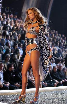 Alessandra Ambrosio walks the runway in lingerie