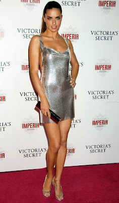 Adriana Lima in a sexy silver dress