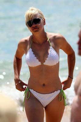 Anna Farris in a white bikini