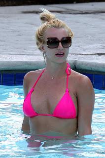 Britney Spears in a pink bikini