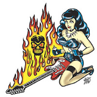 Vince Ray Flaming Guitar Sticker