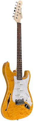 G&L Comanche Semi-hollow Quilt Maple Amber Top