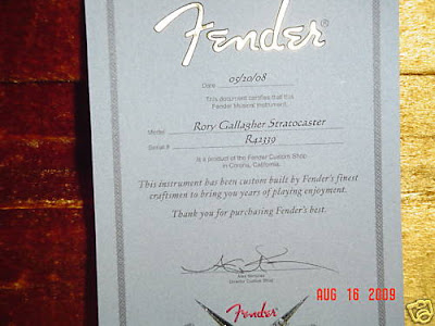 fender rory gallagher custom shop cert