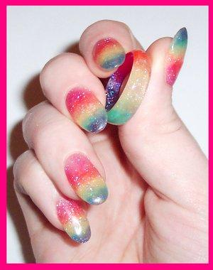 Nail Art Design Acrylic Rainbow Color Design Nail