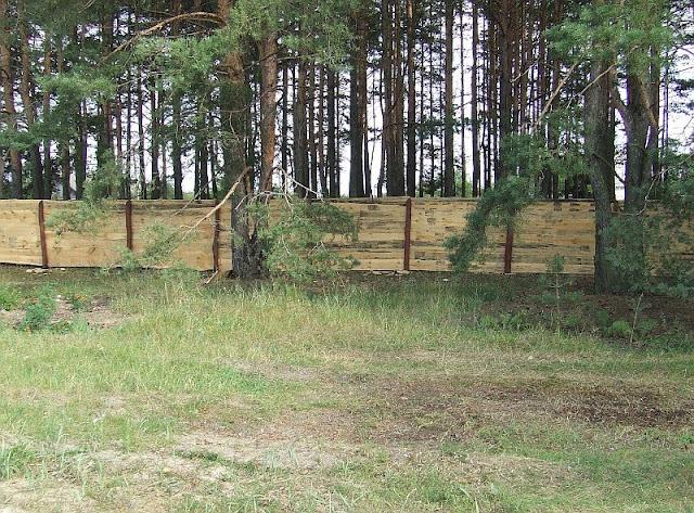 Установленный забор со стороны леса