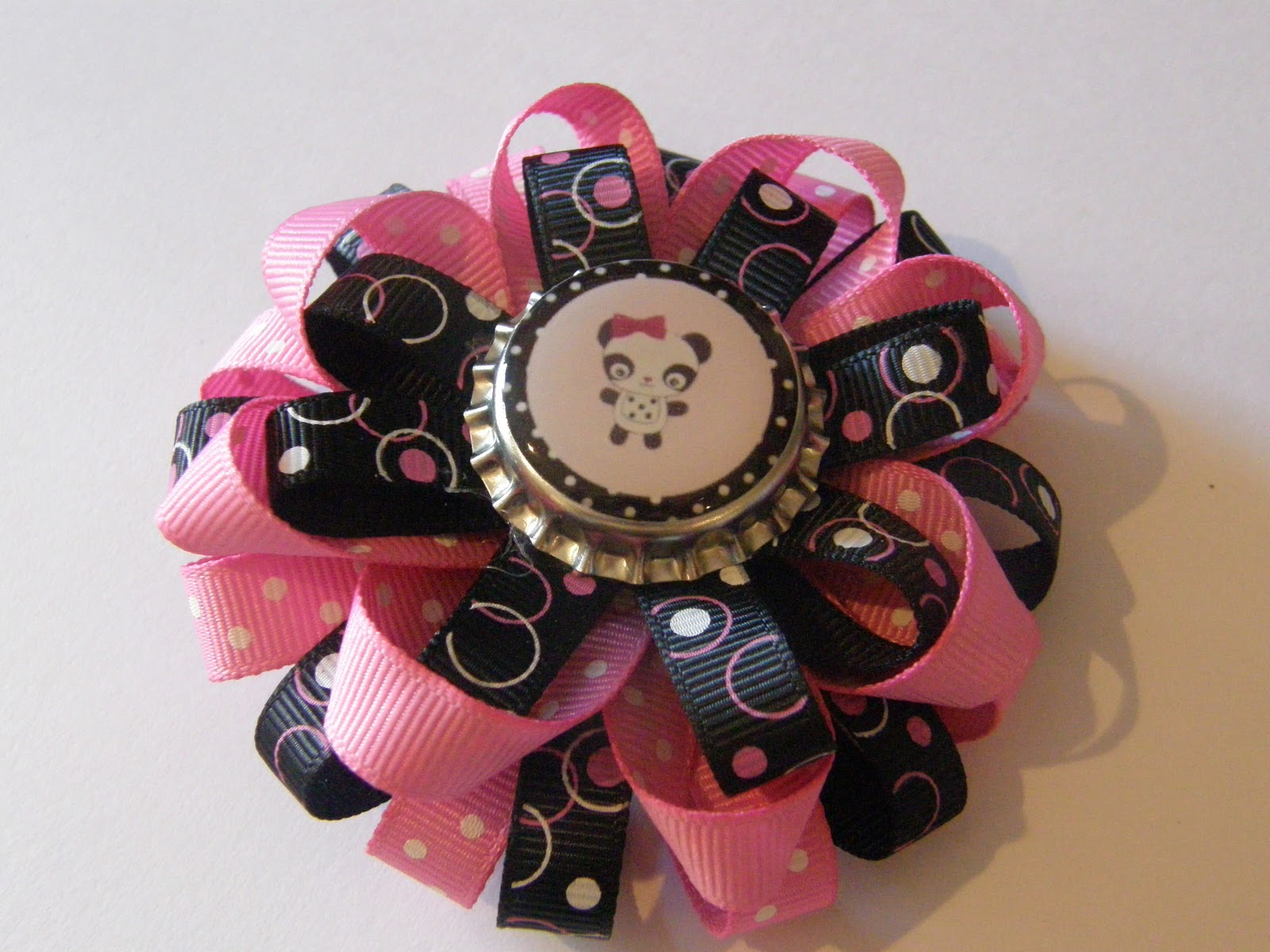 Sweetbeebowtique Black And Hot Pink Panda Bottle Cap Bow