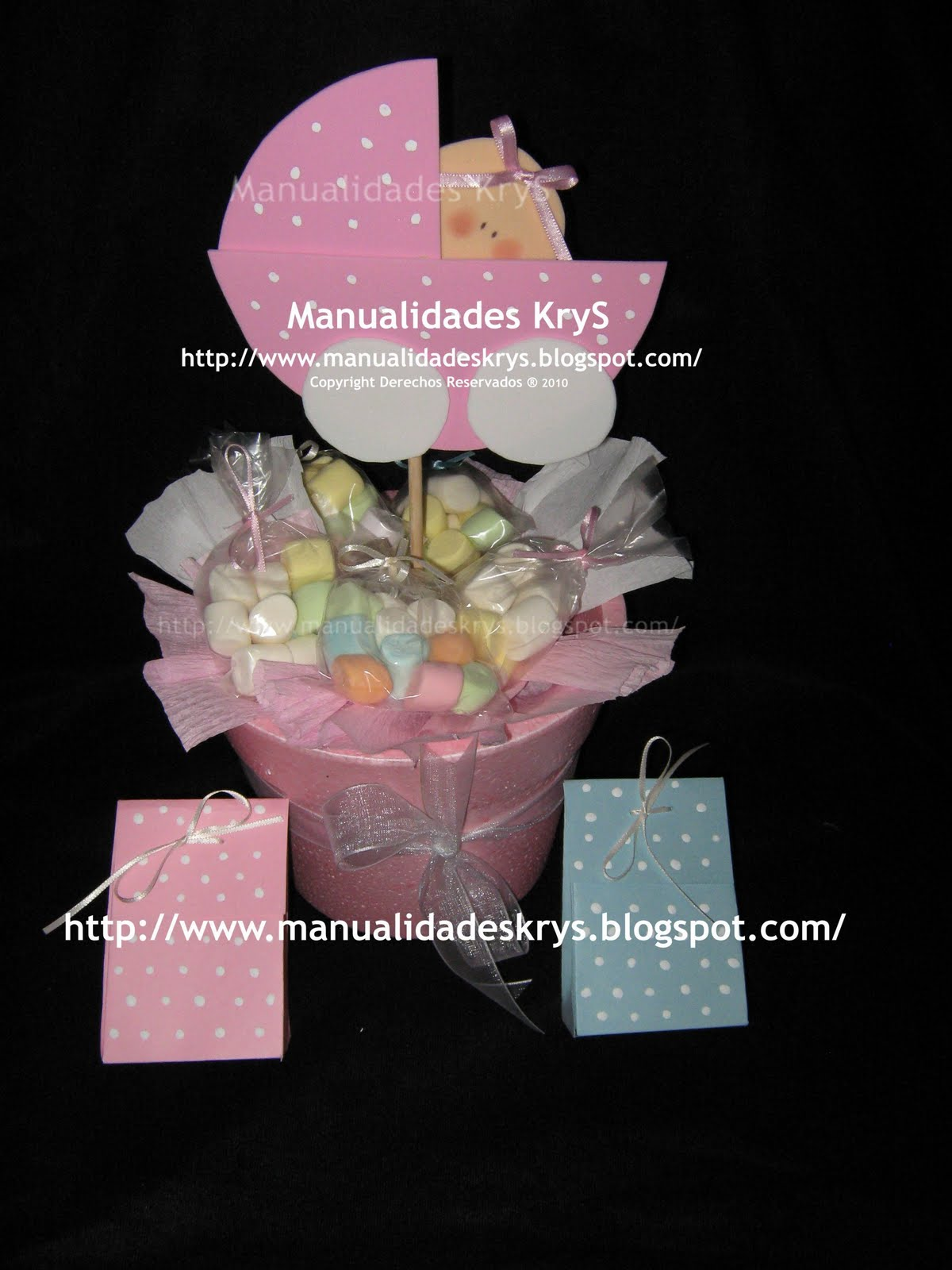 Manualidades krys marzo 2010 for Centro de mesa baby shower
