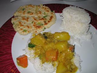 Curry Vegetal, arroz y roti de coco en el Sabor de Ceilán