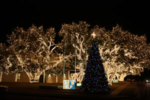 christmas is glowing in johnson city texas as lights spectacular displays shine throughout the town with the blanco county courthouse as centerpiece of