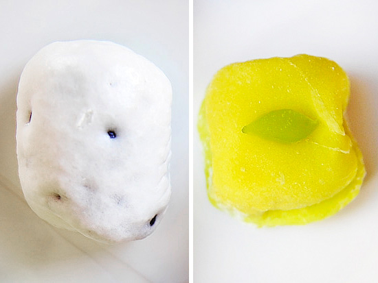 (L)Adzuki bean inside a white bun; (R) beautiful green manju