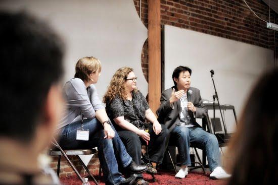 Session 1: Harriet Ells, KCRW; Evan Kleiman, Good Food & Angeli Caffe; Eddie Lin, Deep End Dining