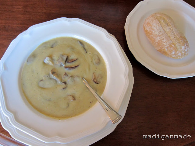 Rich Mushroom and Potato Soup  - recipe at madiganmade.com