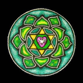 The Heart Chakra is traditionally also depicted as a Green FloWer.
