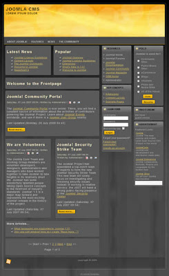 yellow header joomla cms template
