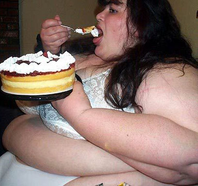 very fat woman eating You will arrive at page shown