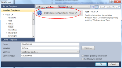 Activer les Windows Azure Tools sous Visual Studio 2010