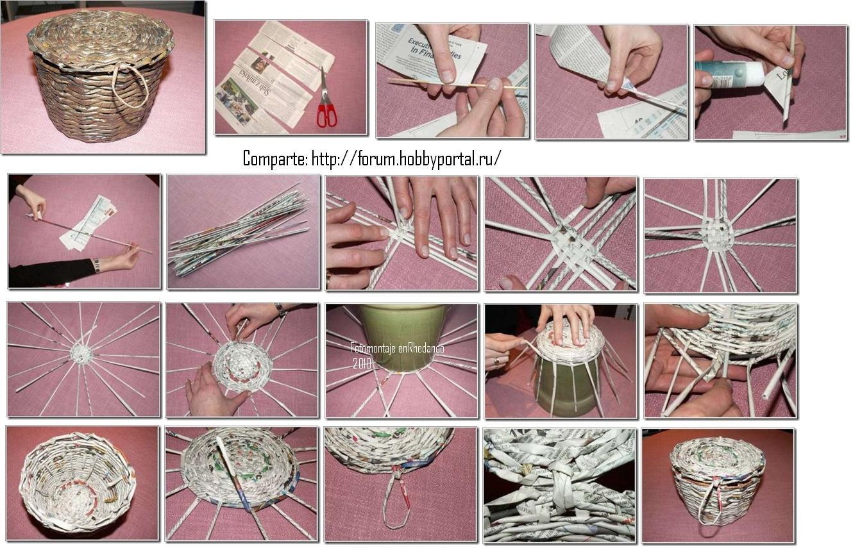 Como hacer una cesta de tiras de papel - Hacer cestas con papel de periodico ...