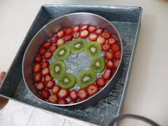los mozaicos de fruta, arte y color.
