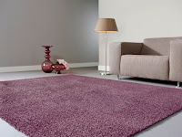 purple rug in shag pile