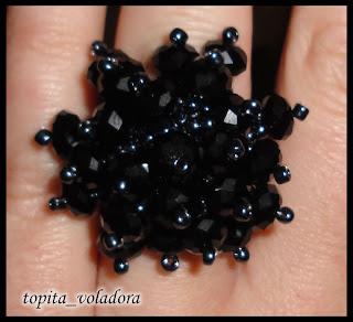 anillo abalorios cristal