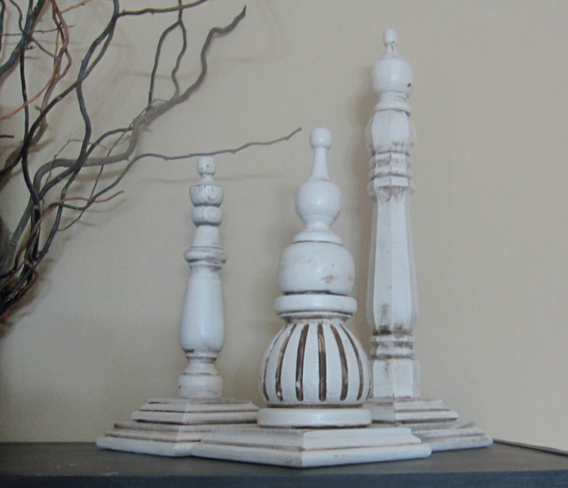 Under my umbrella distressed wood finials tutorial for Wooden finials for crafts