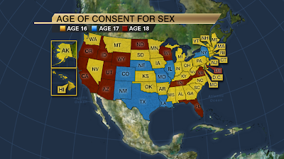 Legal age for consensual sex not