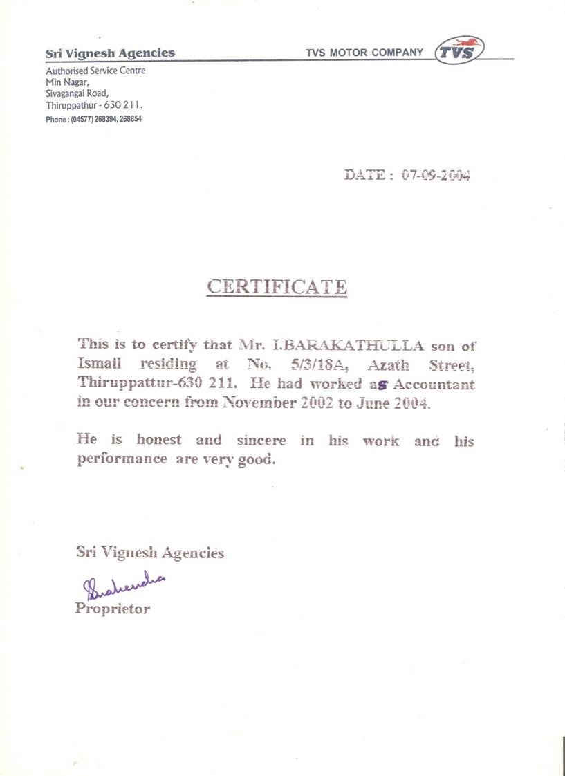 Barakath work experience certificate yadclub Image collections