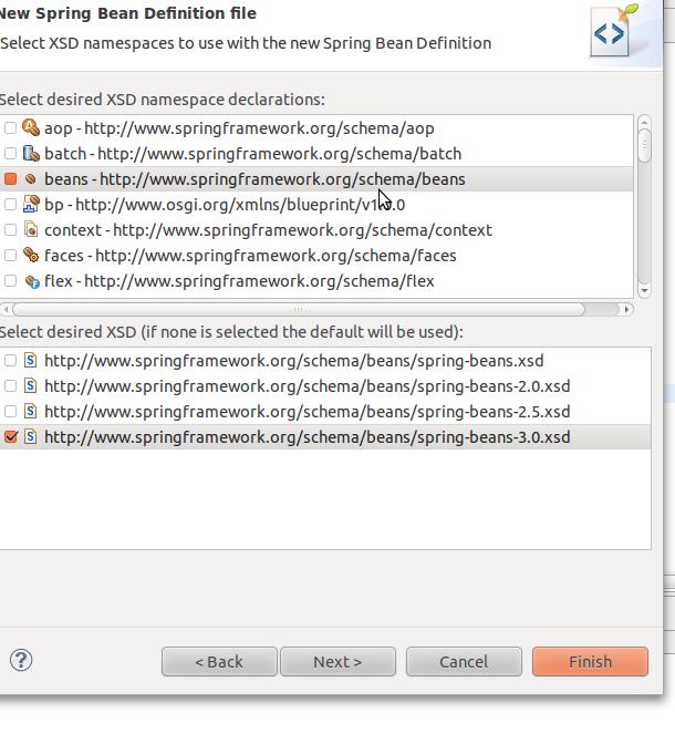 La vida facil con spring introduccion a inversion de control aqui solo necesitamos el namespace bean y como trabajaremos con la version 30 entonces la seleccionamos malvernweather Gallery