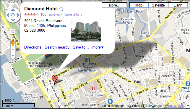 Now Here S The Diamond Hotel Manila As Shown In Google Maps And Satellite View Of Well
