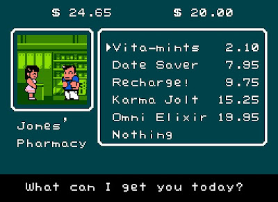 river city ransom, drug store, date saver recharge, resigned gamer
