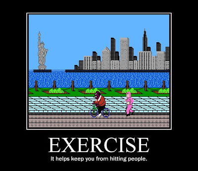 punchout bike bonus round motivational poster exercise resigned gamer