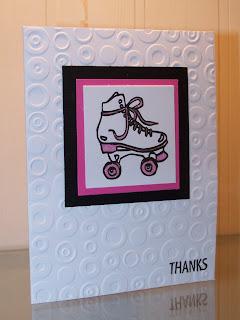 fun sharing Roller Skates Thank you cards