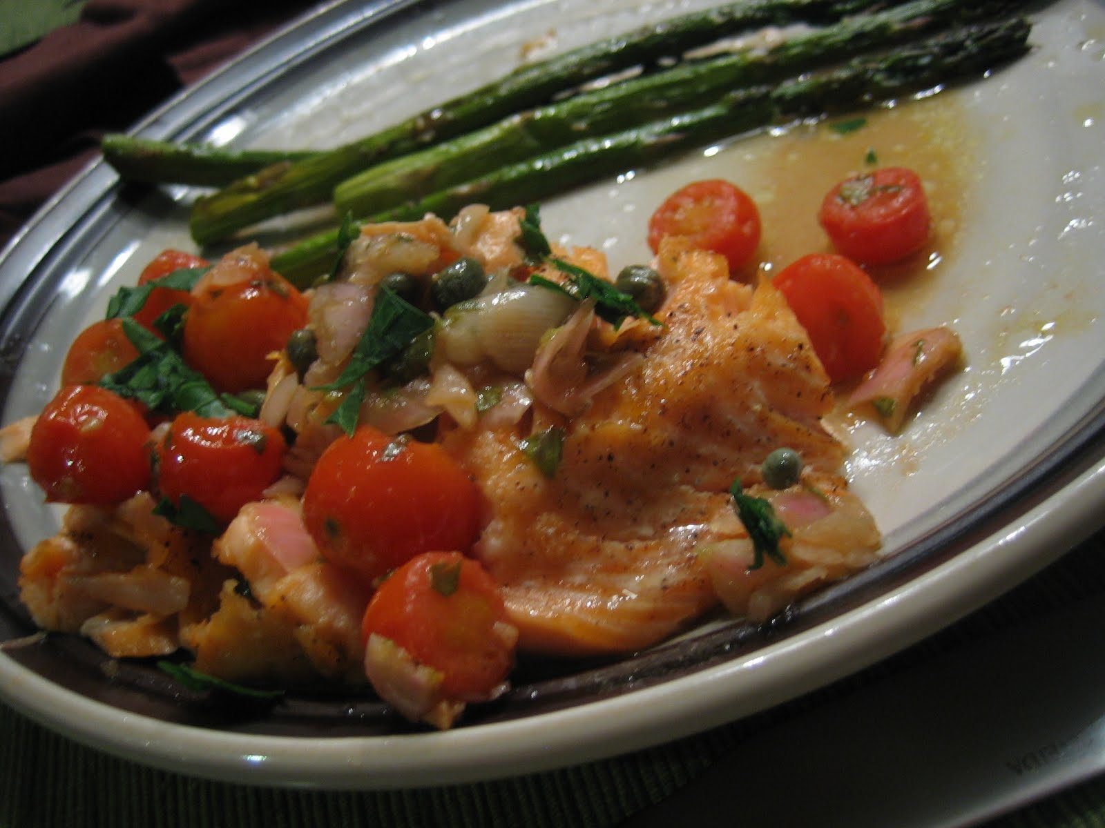 Baked Salmon with Tomato-Caper Sauce