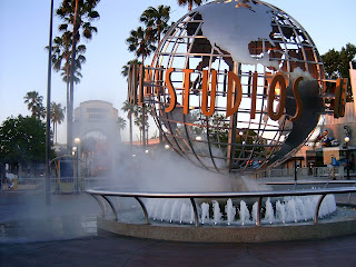 Universal Studios theme park in California has big steel ball twirling