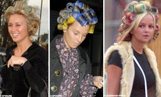Women wearing curlers as hairdo fashion must be out of their minds