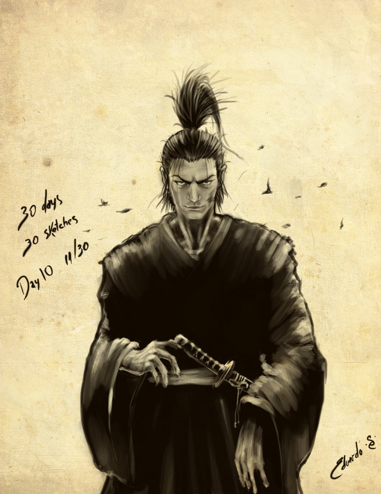how to draw a samurai warrior