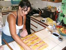 Haciendo pan de jamón