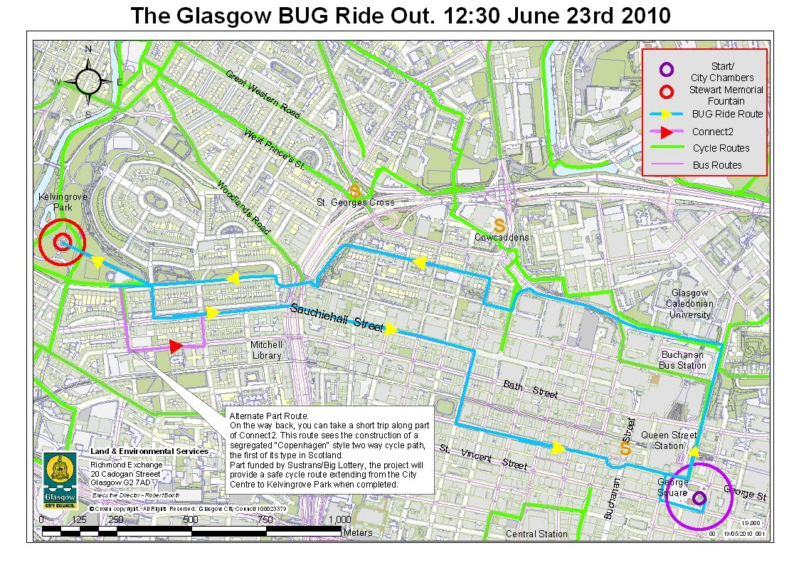 there is a cool bug ride on wednesday 23rd at 12 30 leaving from george square up to kelvingrove park map below