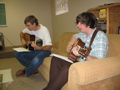 Rob and Ryan leading music with Sr. Highs