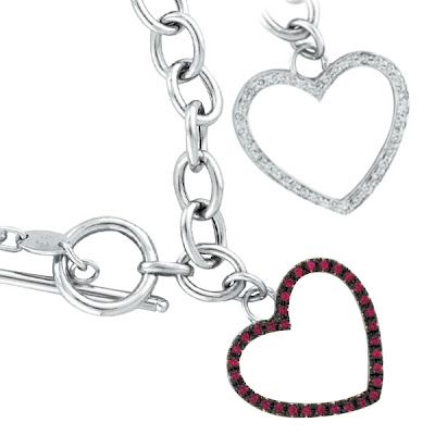 Pink Sapphire Heart Toggle Bracelet
