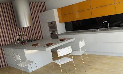 Design Bucatarie Portocaliu