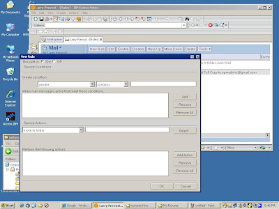 Setting up the second lotus notes rule.