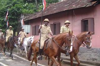 policemen on horses patrolling city roads in Thiruvananthapuram