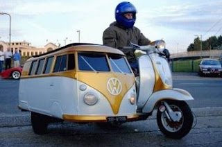 really funny photo of volkswagen kombi sidecar to motorbike
