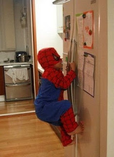 fun photo young spiderman at home