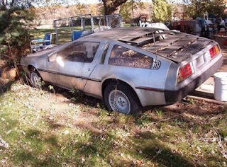 funny back to the future delorean old car