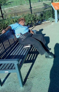 funny cop sleeping on the job