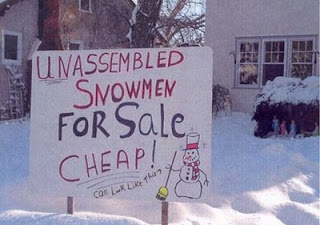 really funny sign snowmen for sale very clever people